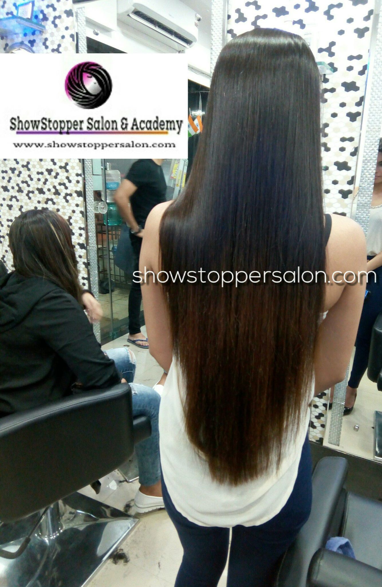after long black showstopper unisex hair salon & academy mira road