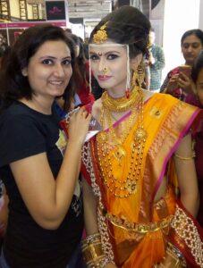 Yellow-maharashtrian-marathi-style-bridal-prebridal-makeup-artist-ladies-beauty-parlour-beauty-tips-Jogeshwari-mumbai-Rs-3000
